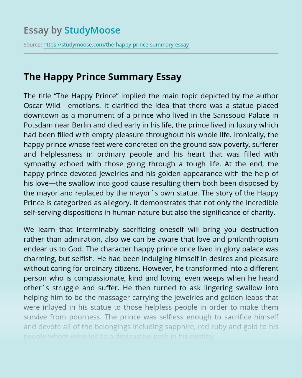 The Happy Prince Summary