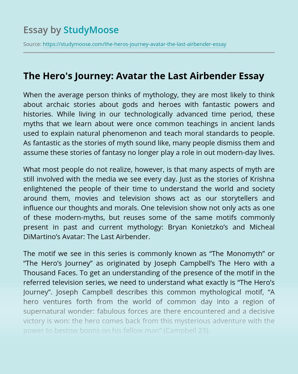 The Hero's Journey: Avatar the Last Airbender