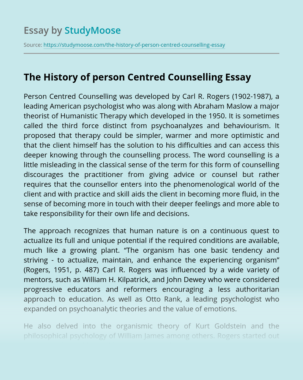The History of person Centred Counselling