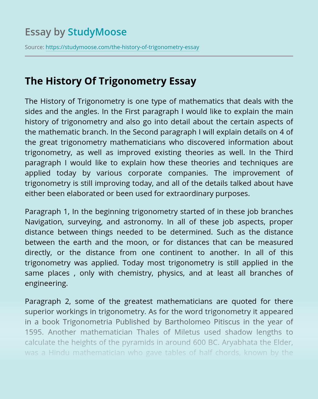 The History Of Trigonometry