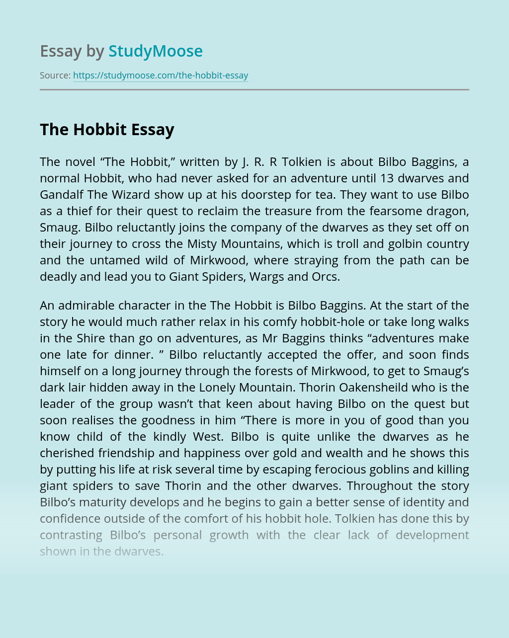 Essay: The Hobbit Book Review
