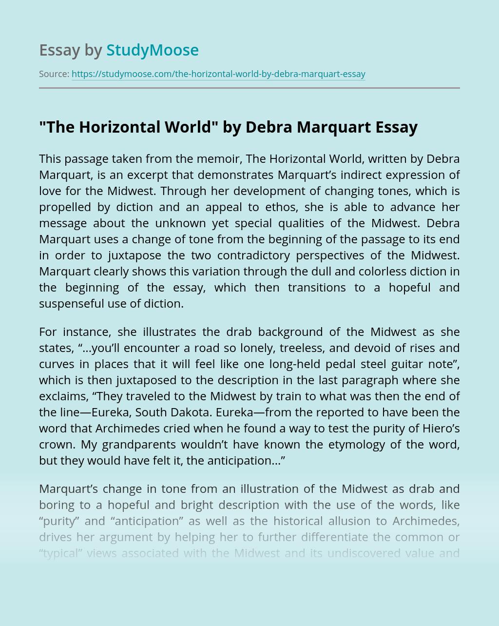 """The Horizontal World"" by Debra Marquart"