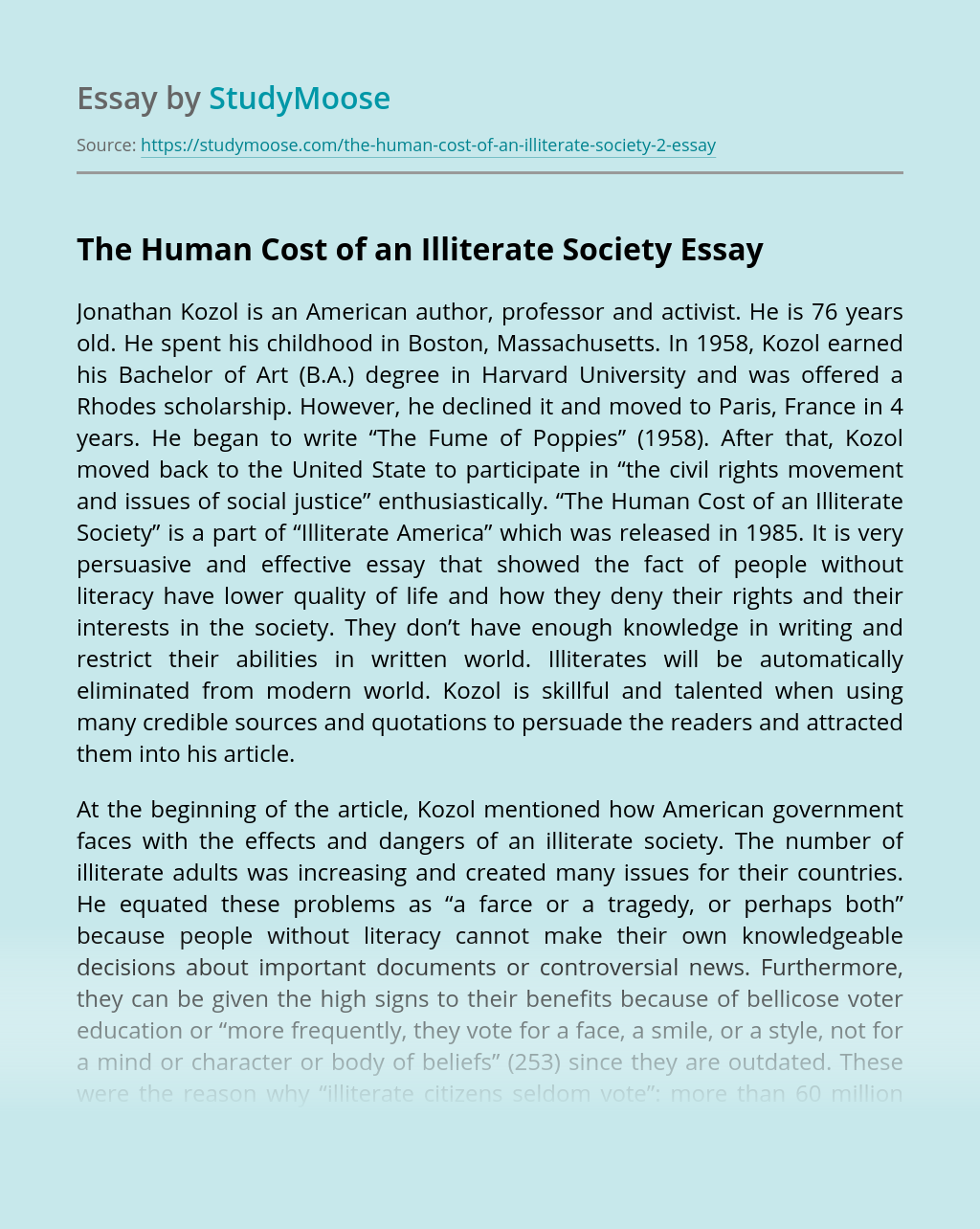 The Human Cost of an Illiterate Society