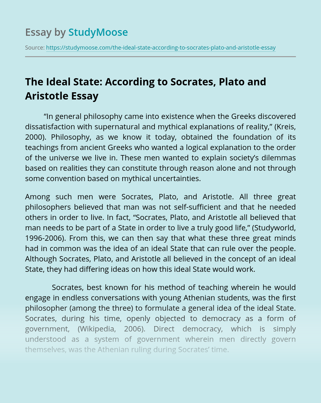 The Ideal State: According to Socrates, Plato and Aristotle