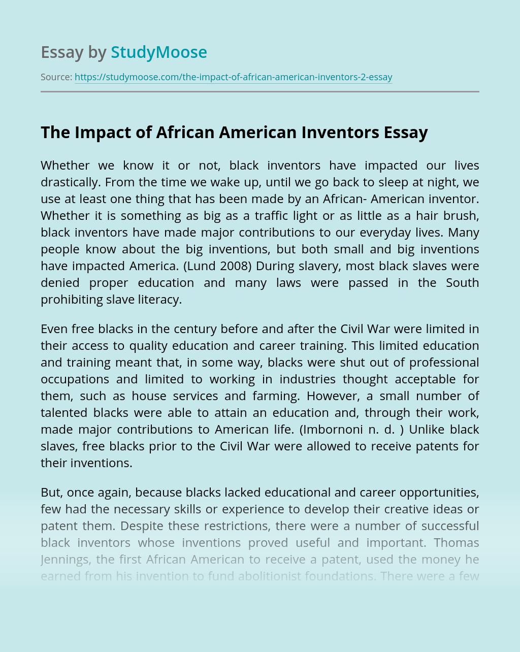 The Impact of African American Inventors