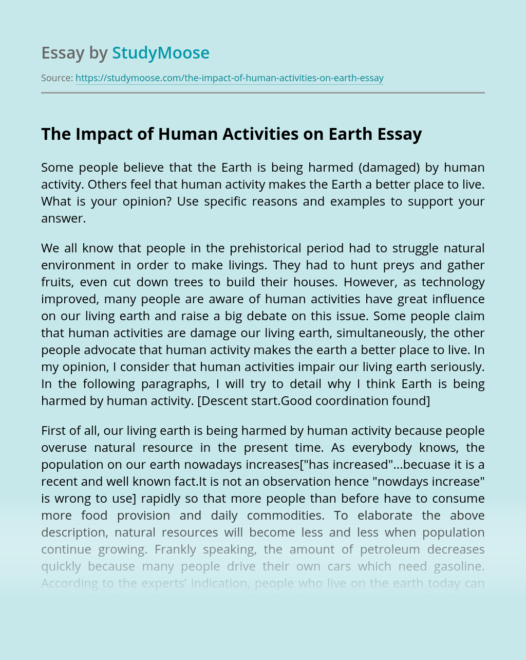 The Impact of Human Activities on Earth