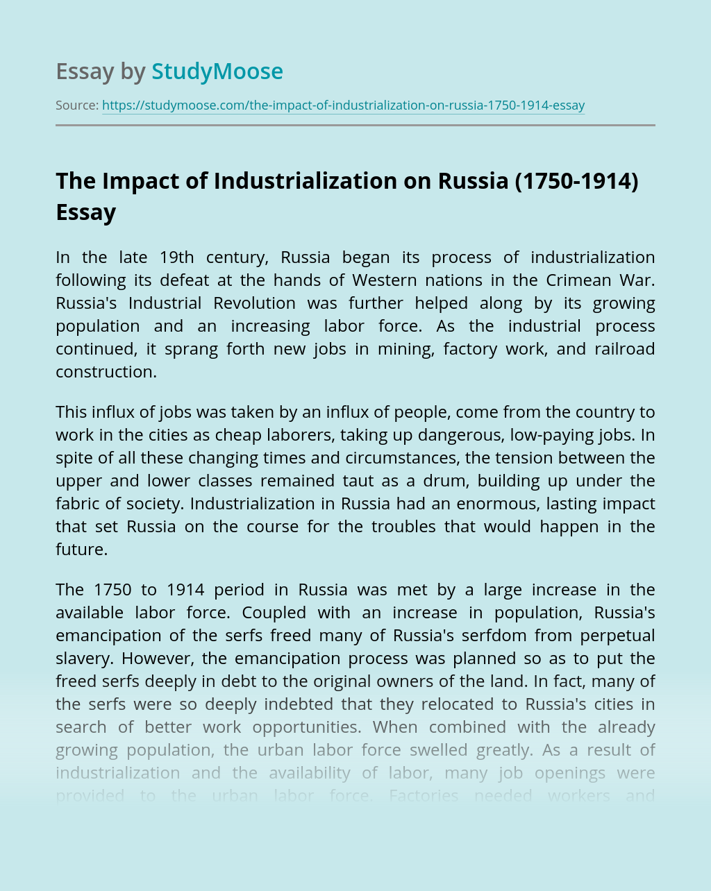 The Impact of Industrialization on Russia (1750-1914)