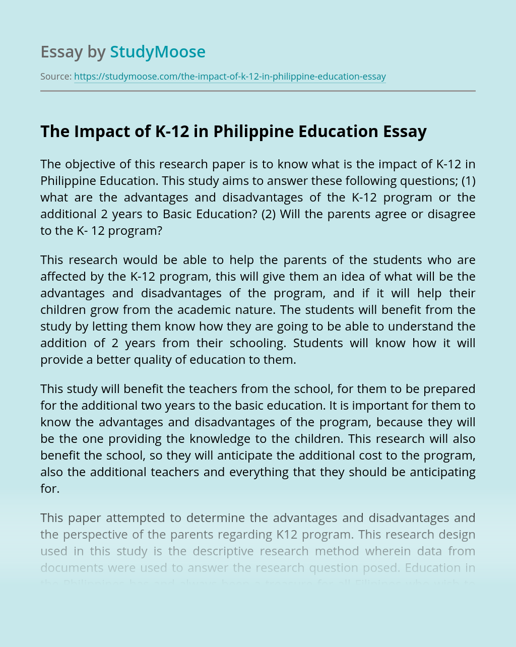 The Impact of K-12 in Philippine Education