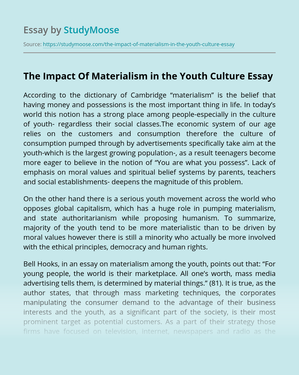 The Impact Of Materialism in the Youth Culture