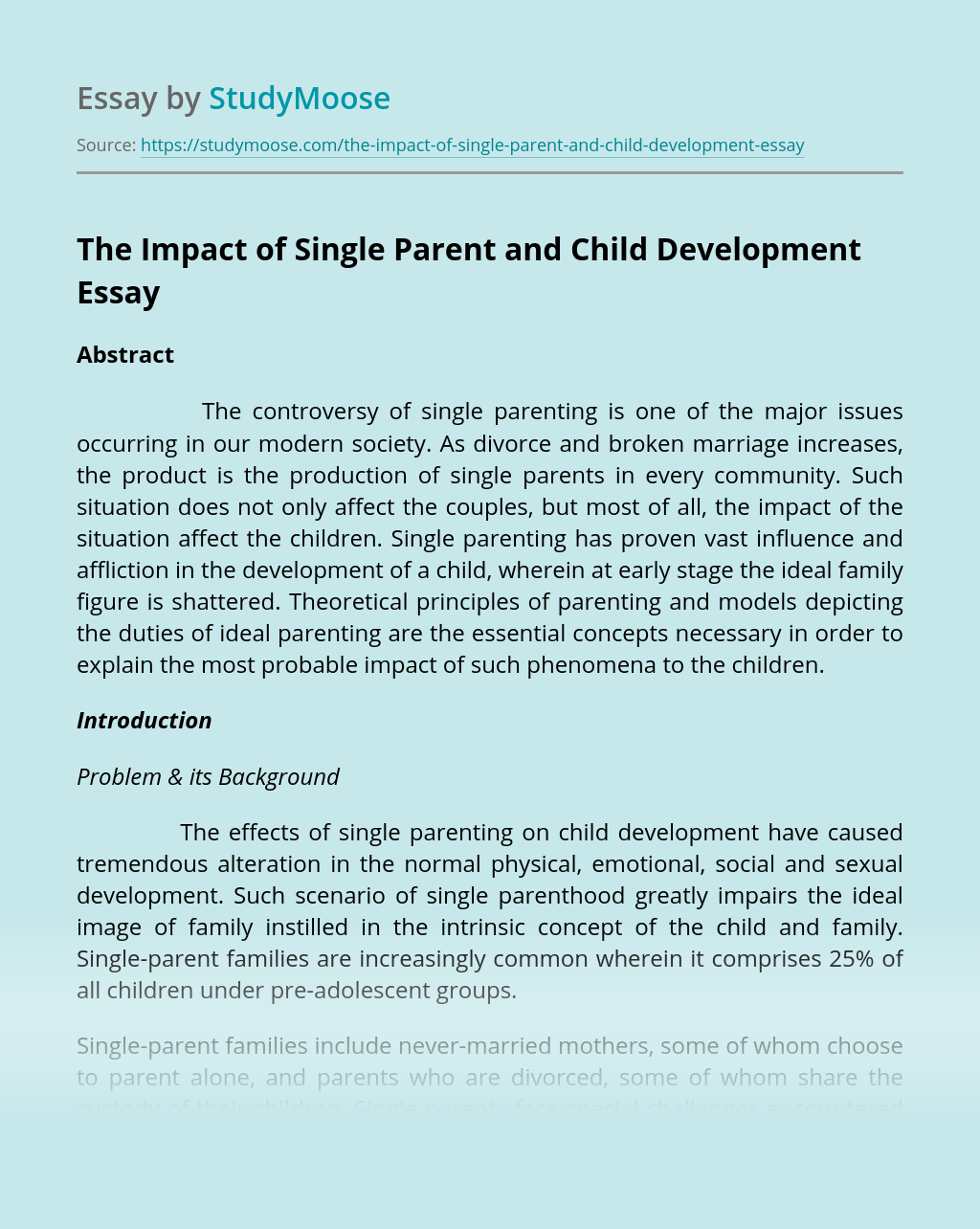 The Impact of Single Parent and Child Development