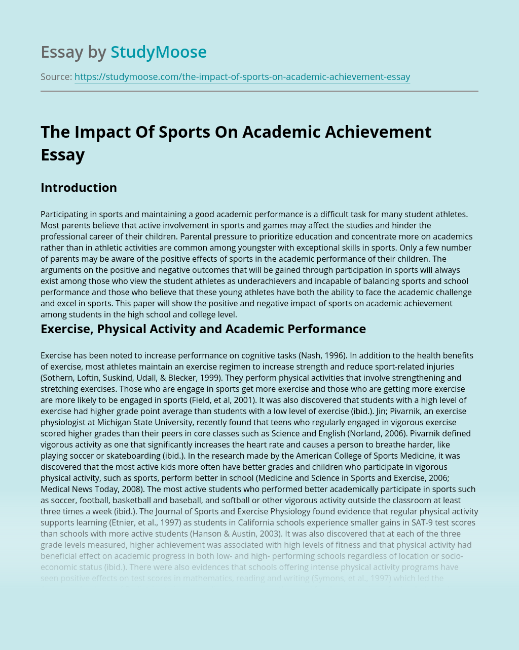 The Impact Of Sports On Academic Achievement