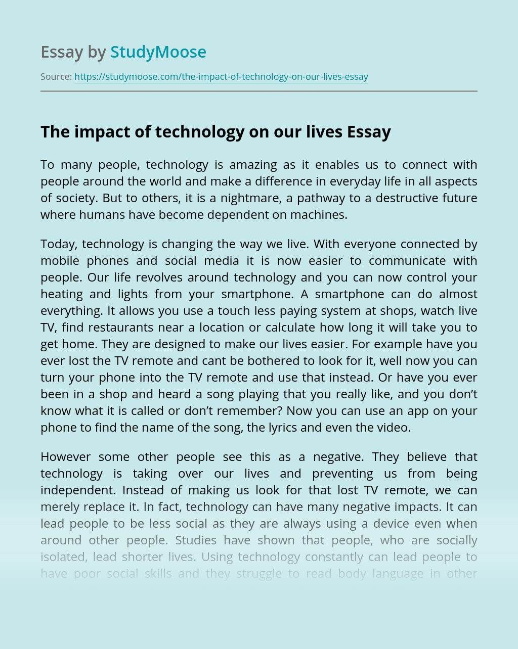 The impact of technology on our lives