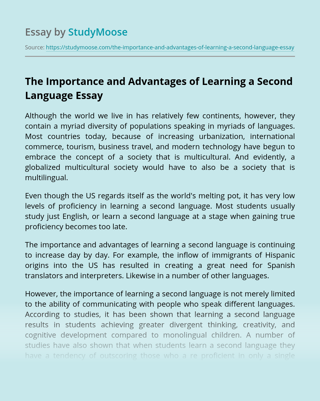 The Importance and Advantages of Learning a Second Language