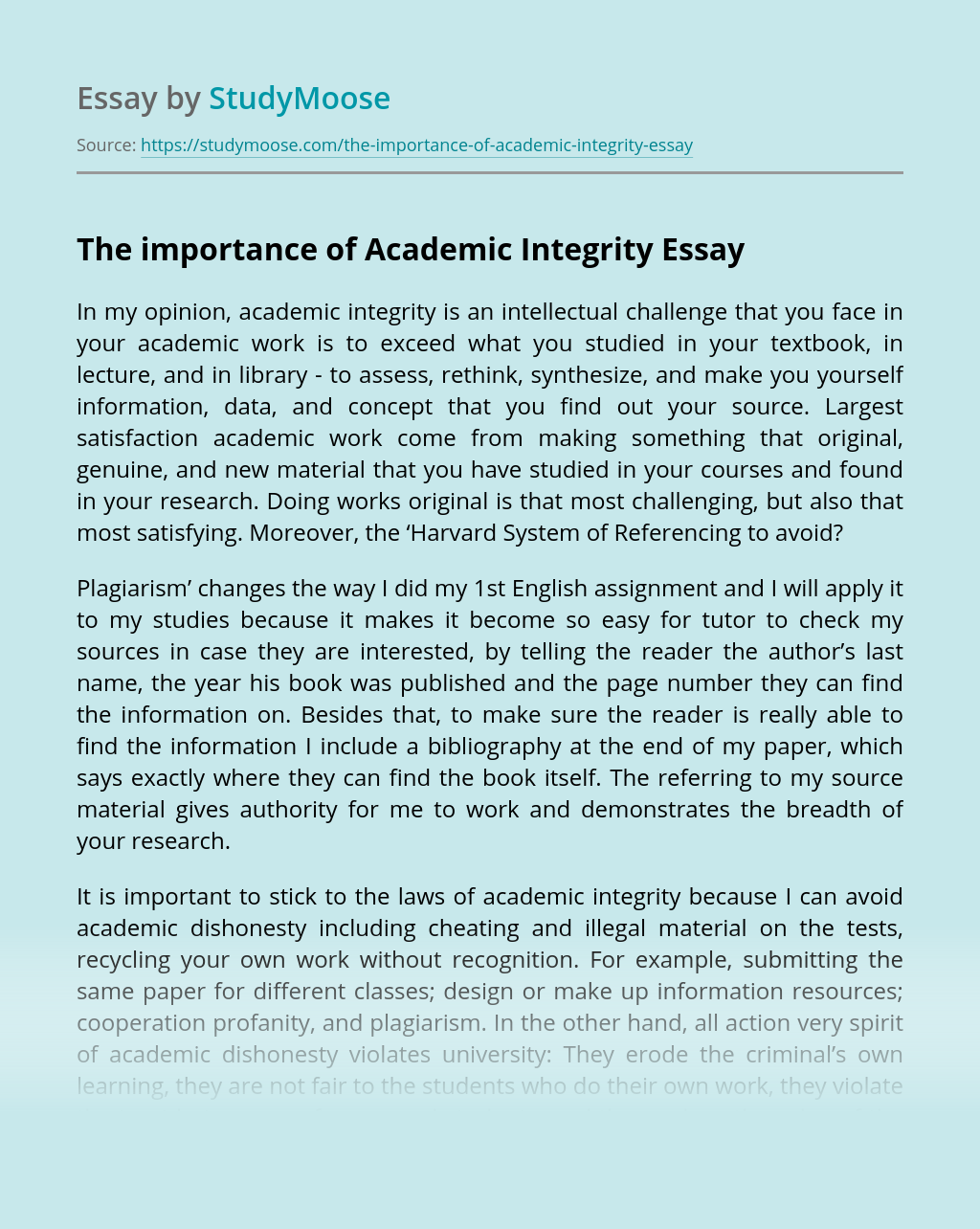 The importance of Academic Integrity
