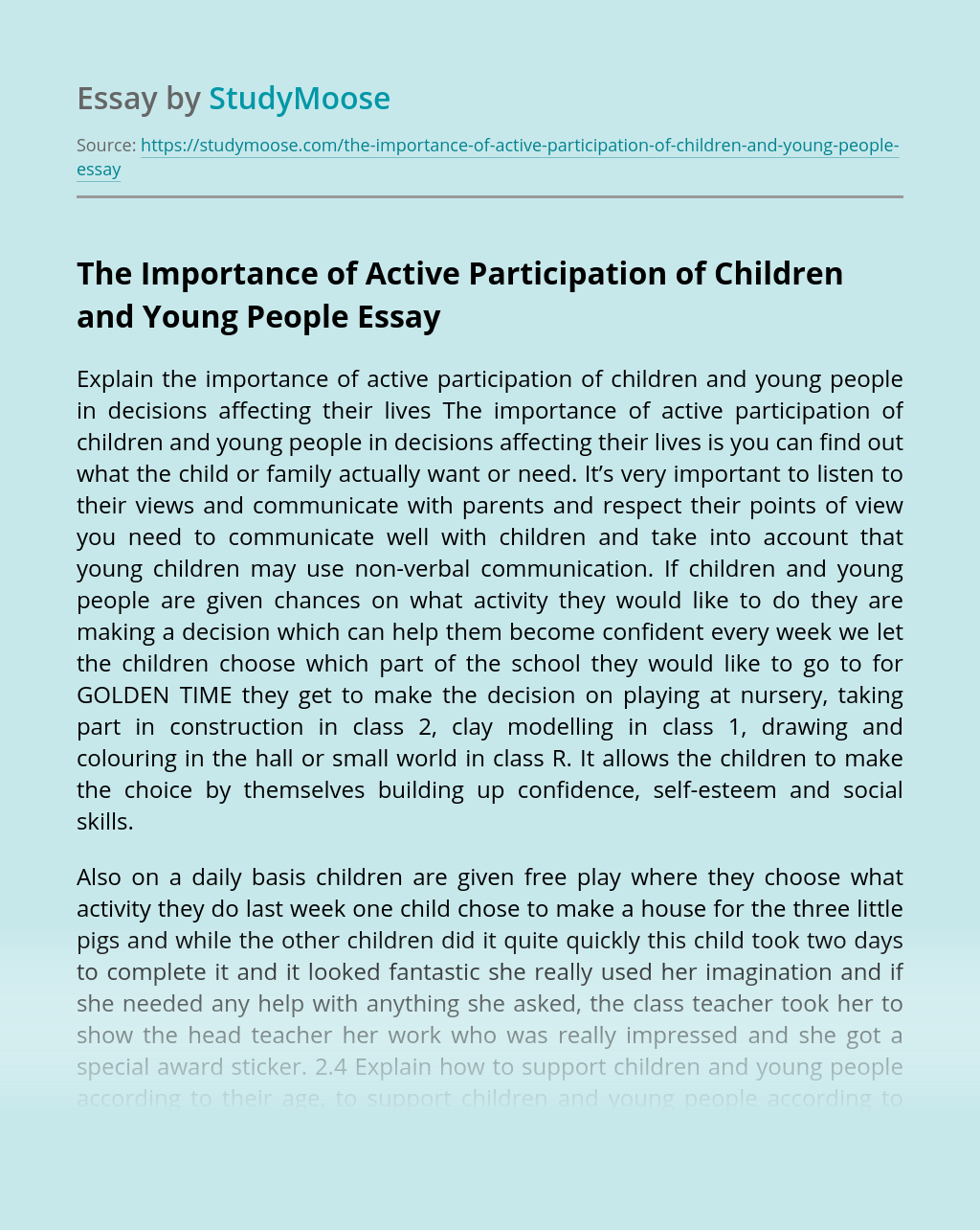 The Importance of Active Participation of Children and Young People