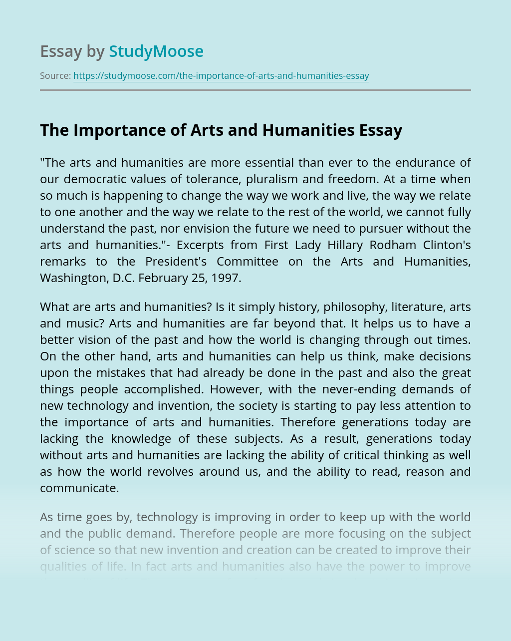 The Importance of Arts and Humanities