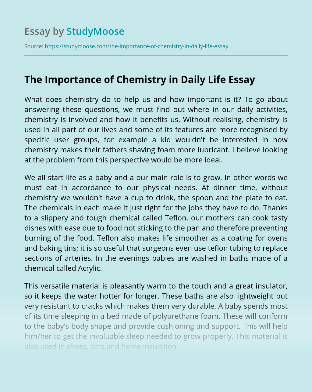 The Importance of Chemistry in Daily Life