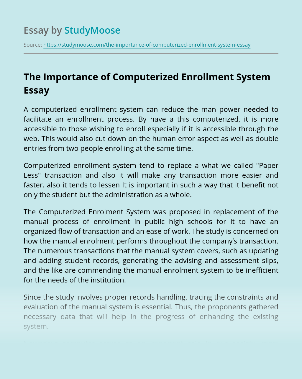 The Importance of Computerized Enrollment System