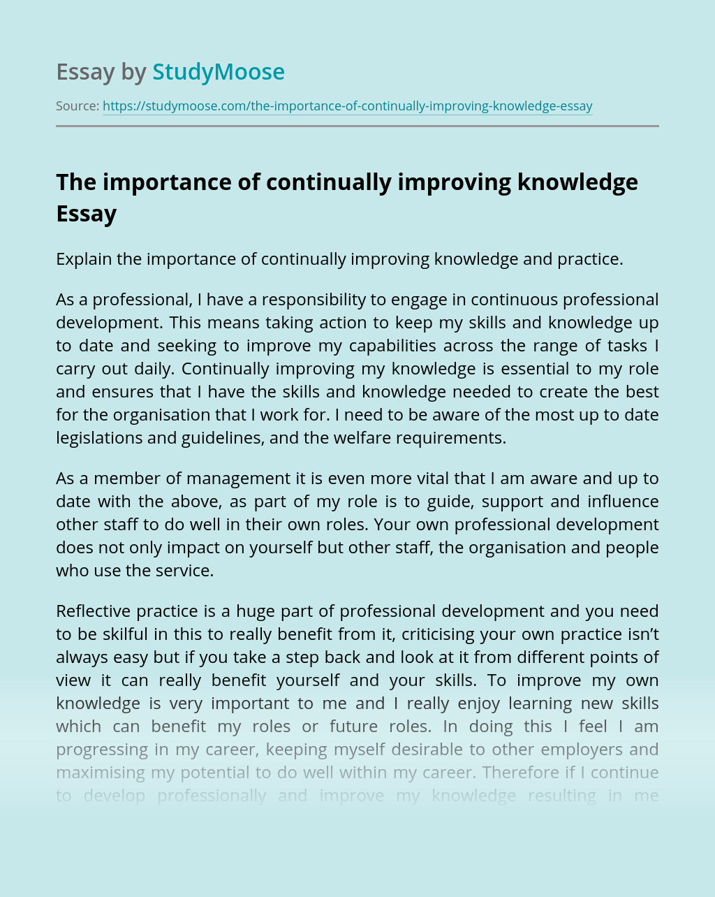 The importance of continually improving knowledge