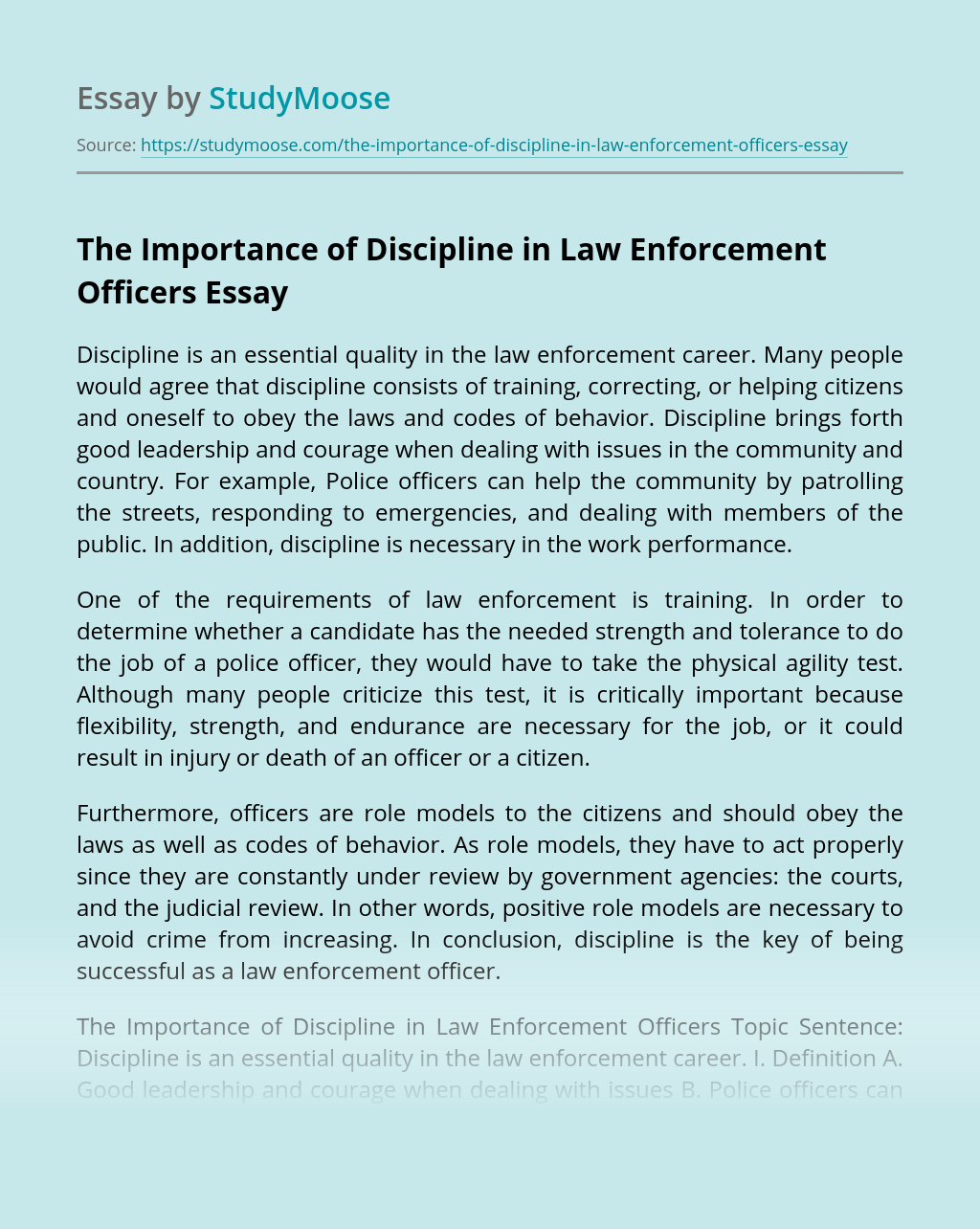 The Importance of Discipline in Law Enforcement Officers