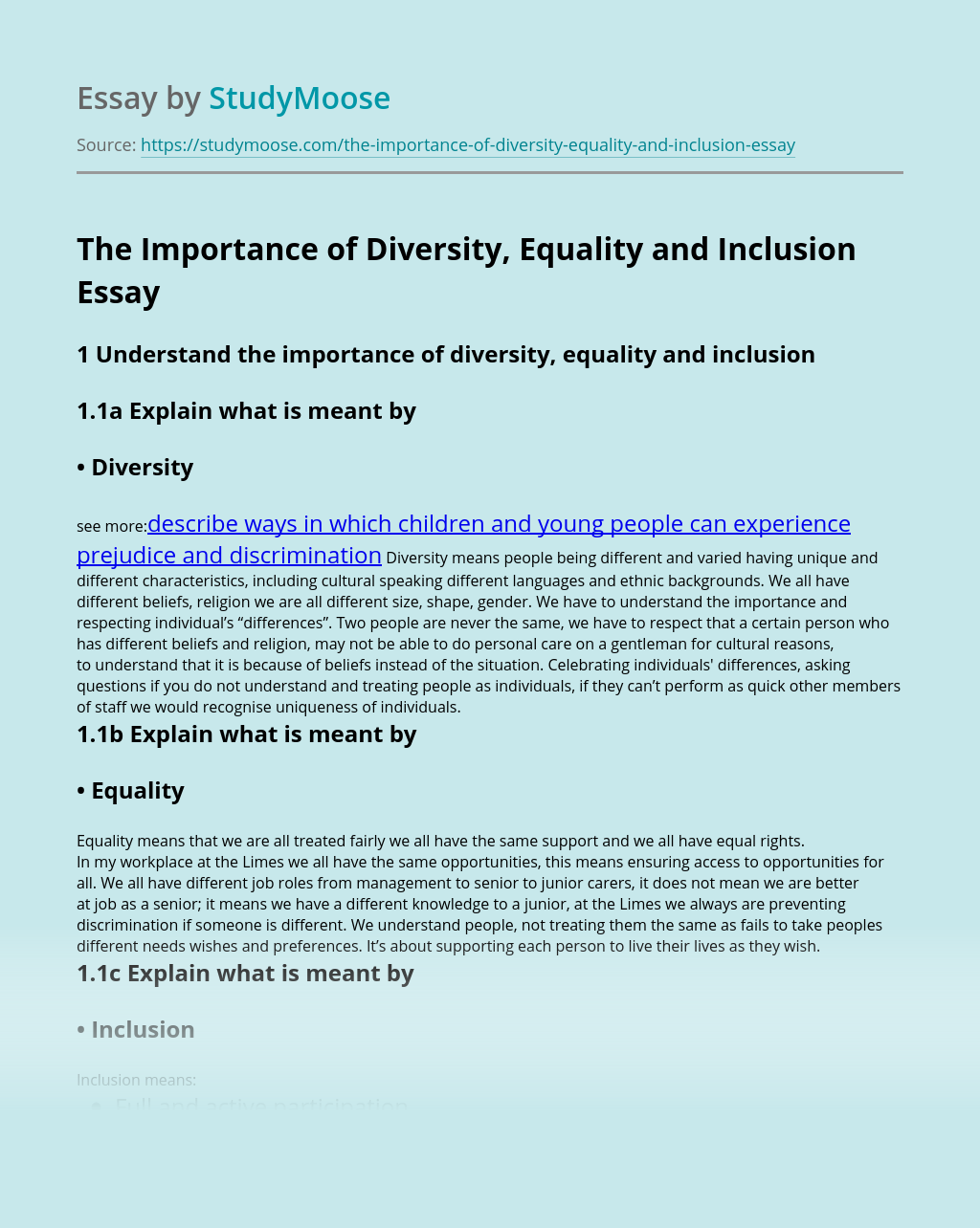 The Importance of Diversity, Equality and Inclusion