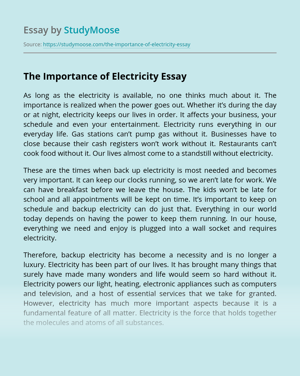 The Importance of Electricity