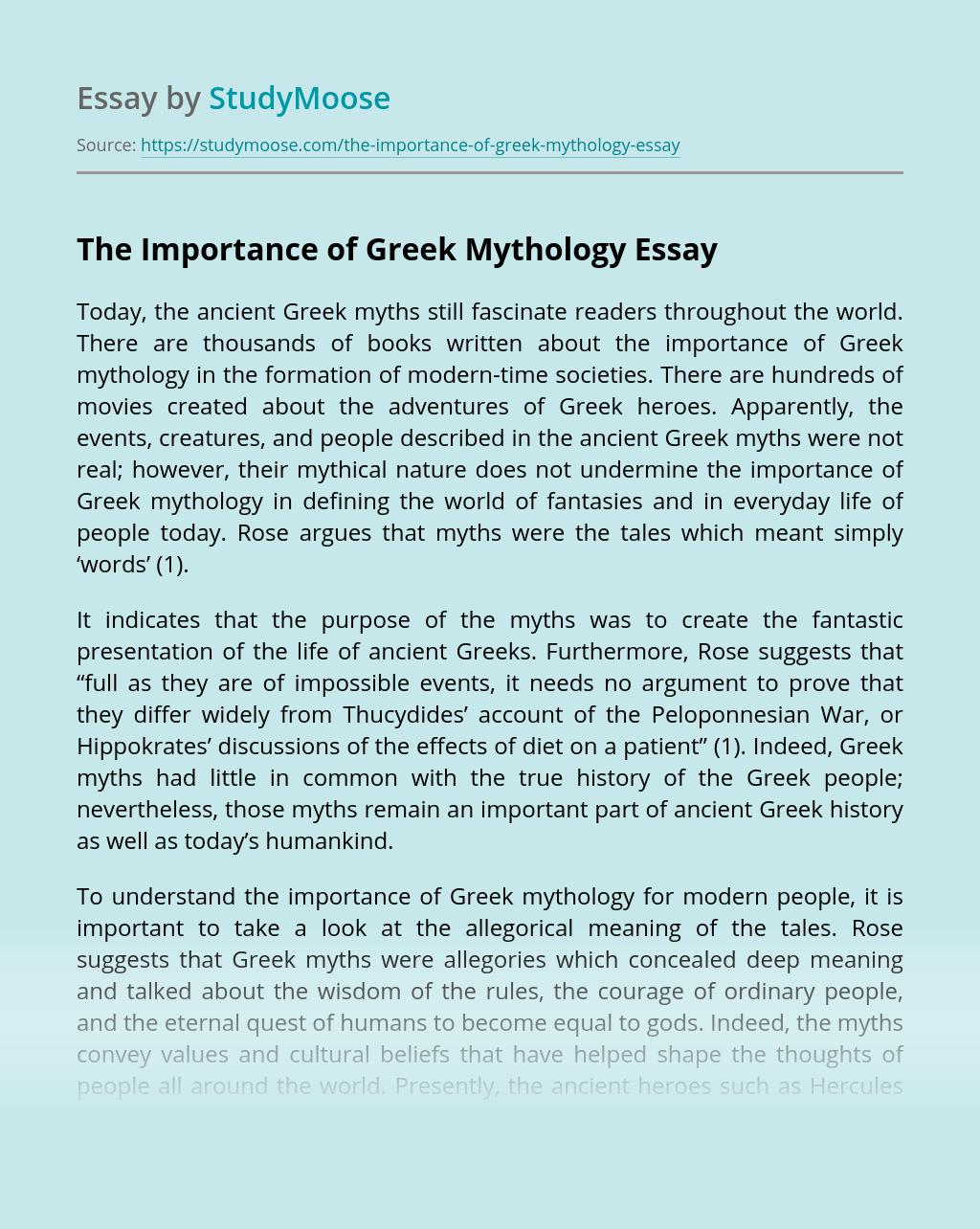 The Importance of Greek Mythology