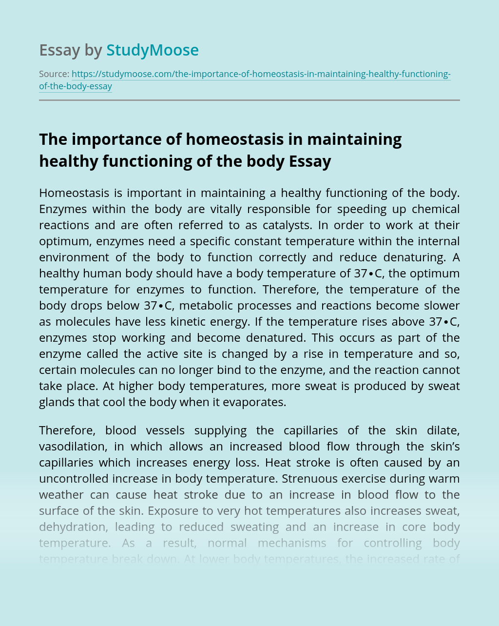The importance of homeostasis in maintaining healthy functioning of the body