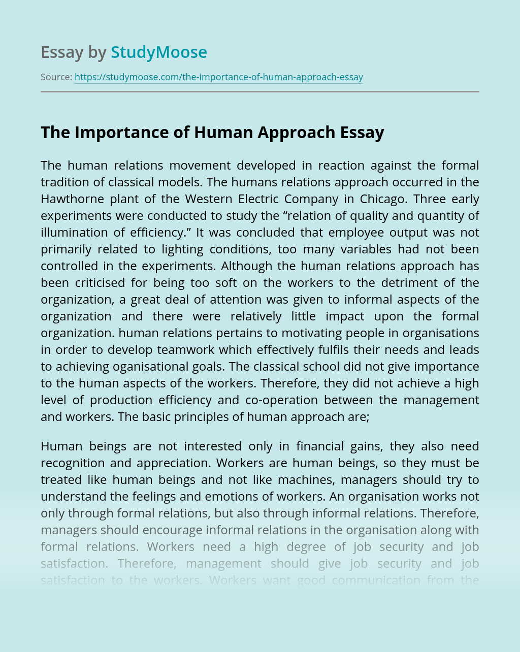 The Importance of Human Approach