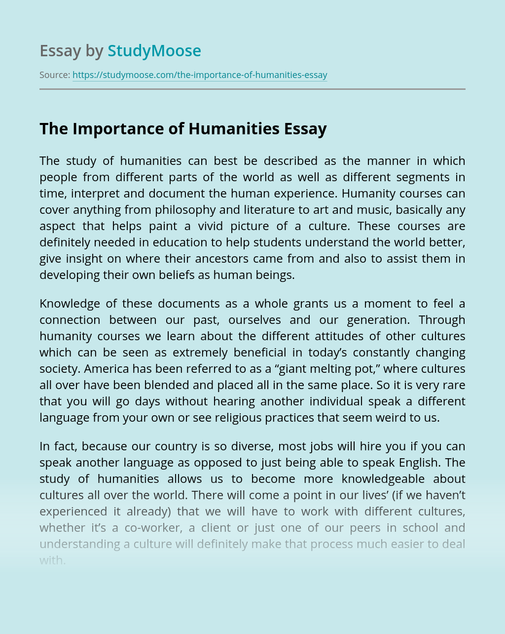 The Importance of Humanities