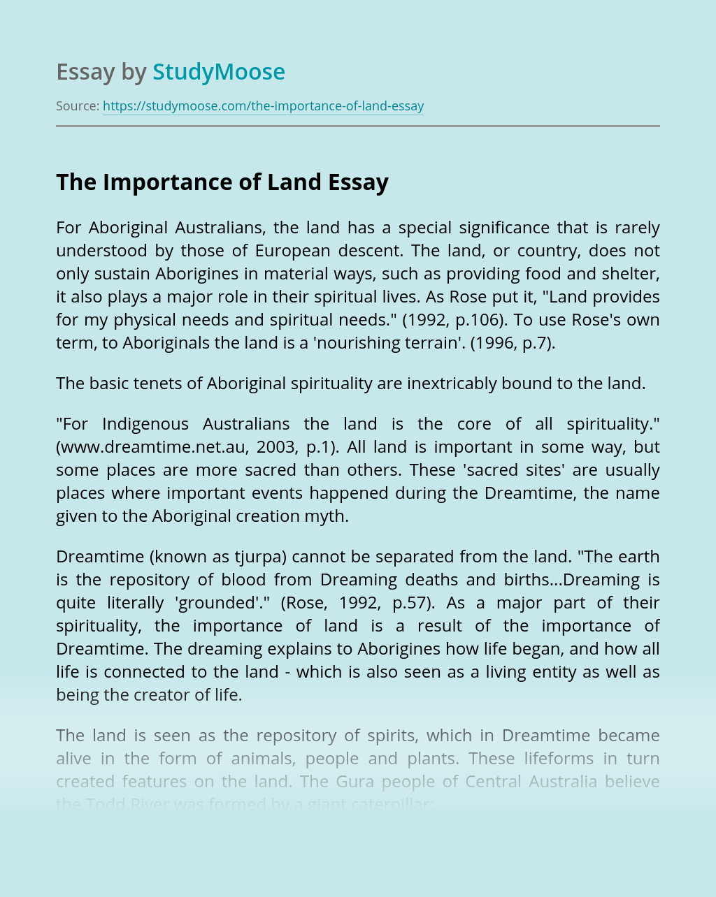 The Importance of Land