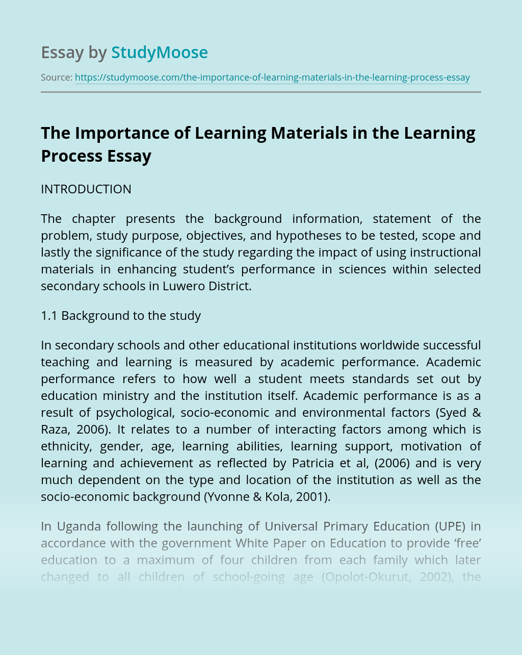 The Importance of Learning Materials in the Learning Process