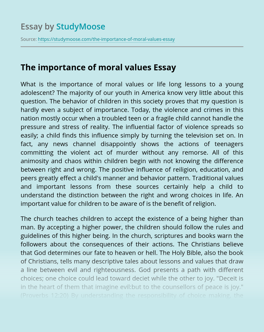 The importance of moral values
