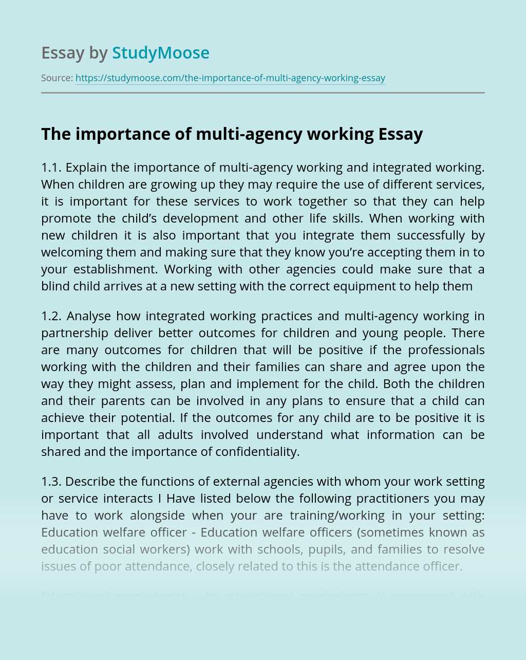 The importance of multi-agency working
