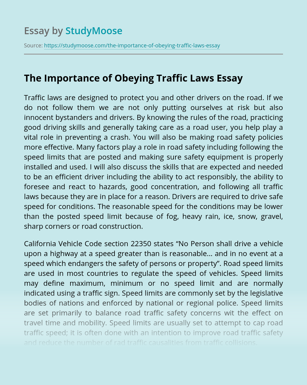 The Importance of Obeying Traffic Laws