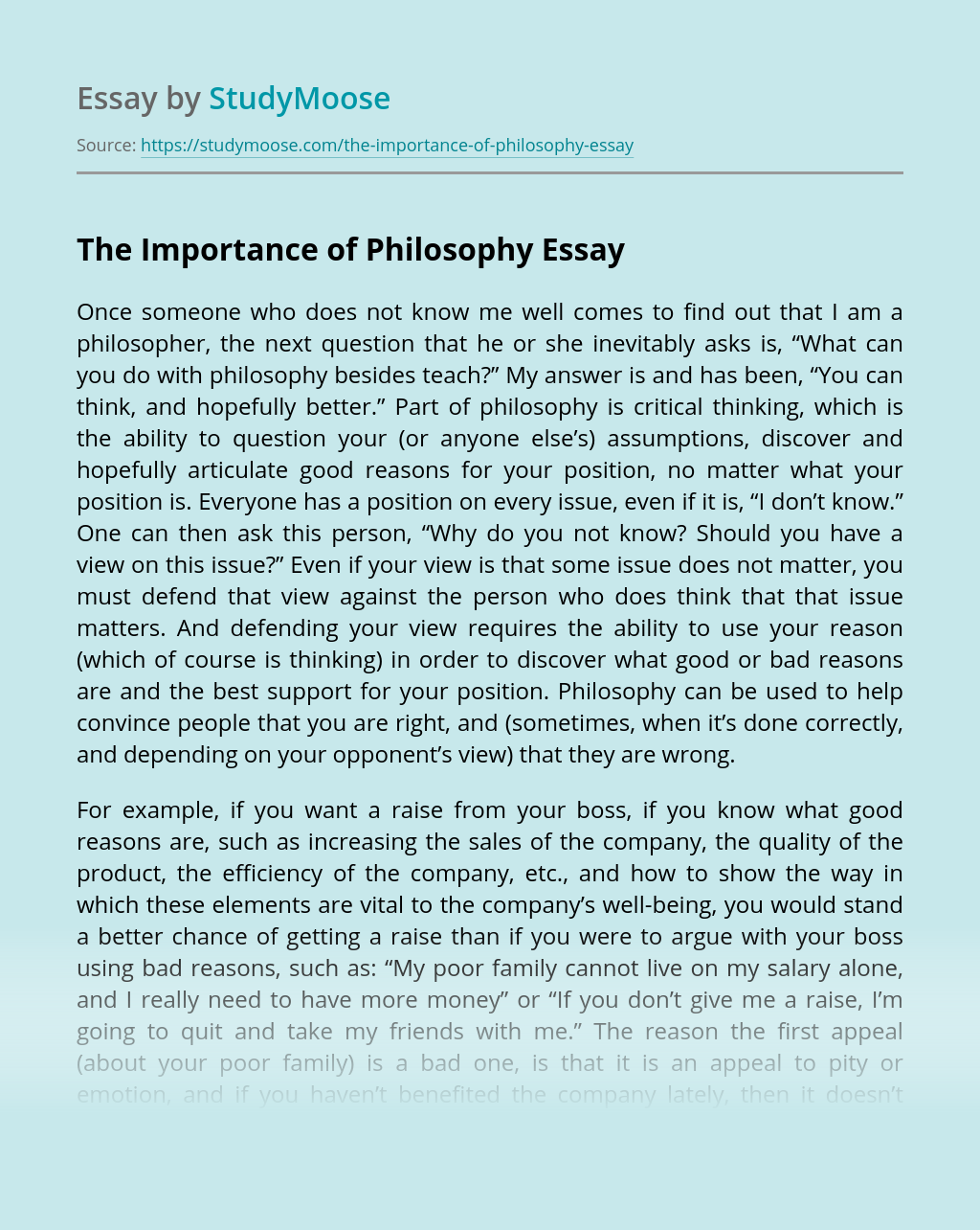 The Importance of Philosophy