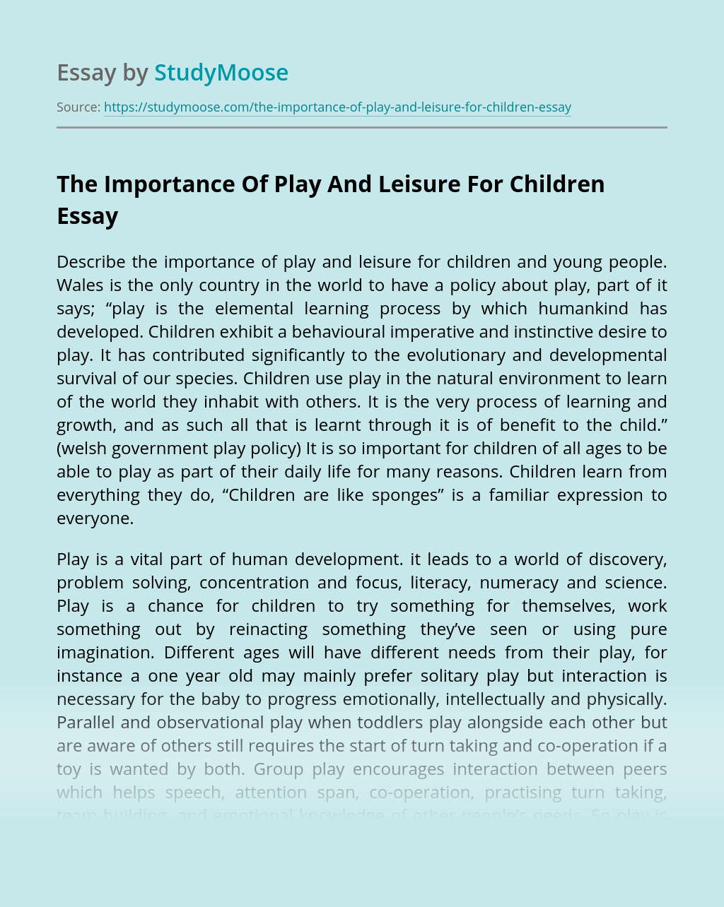 The Importance Of Play And Leisure For Children
