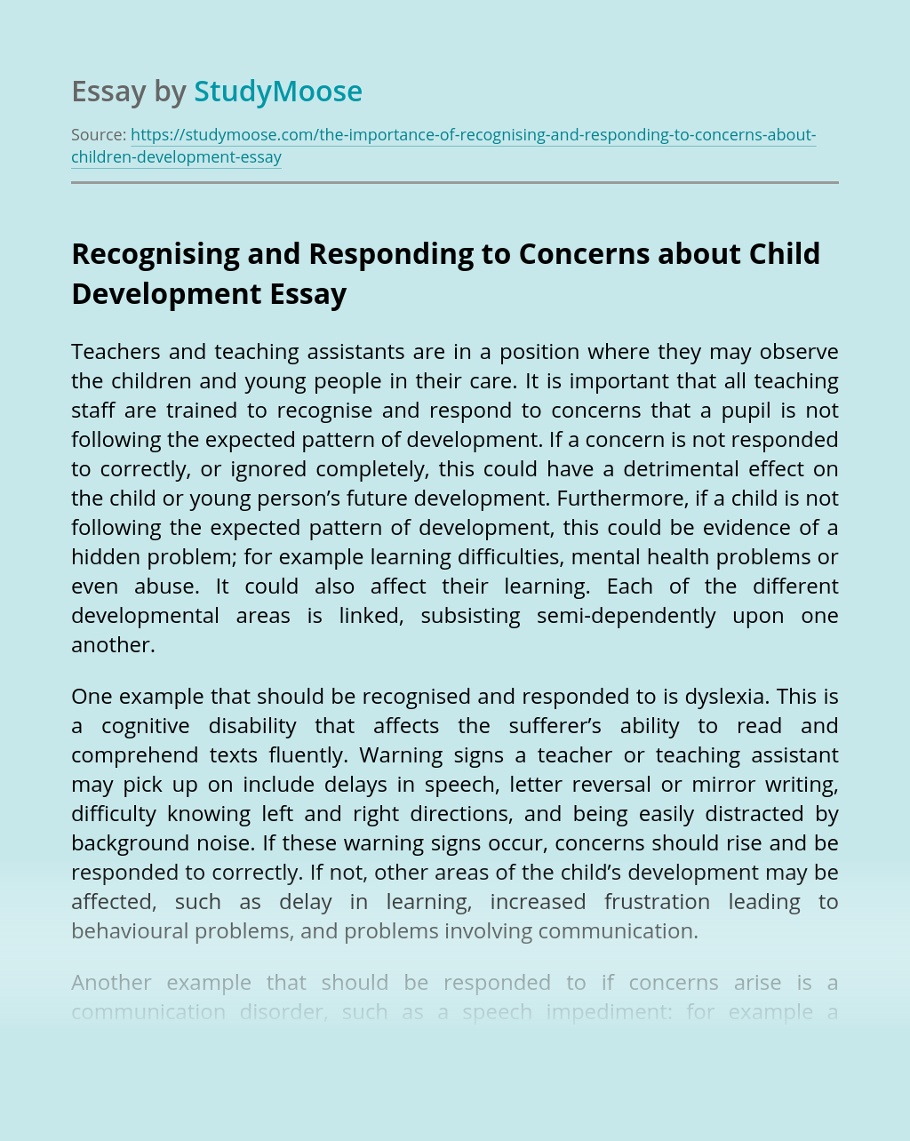 Recognising and Responding to Concerns about Child Development