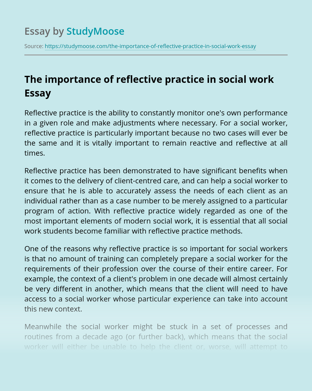 The importance of reflective practice in social work