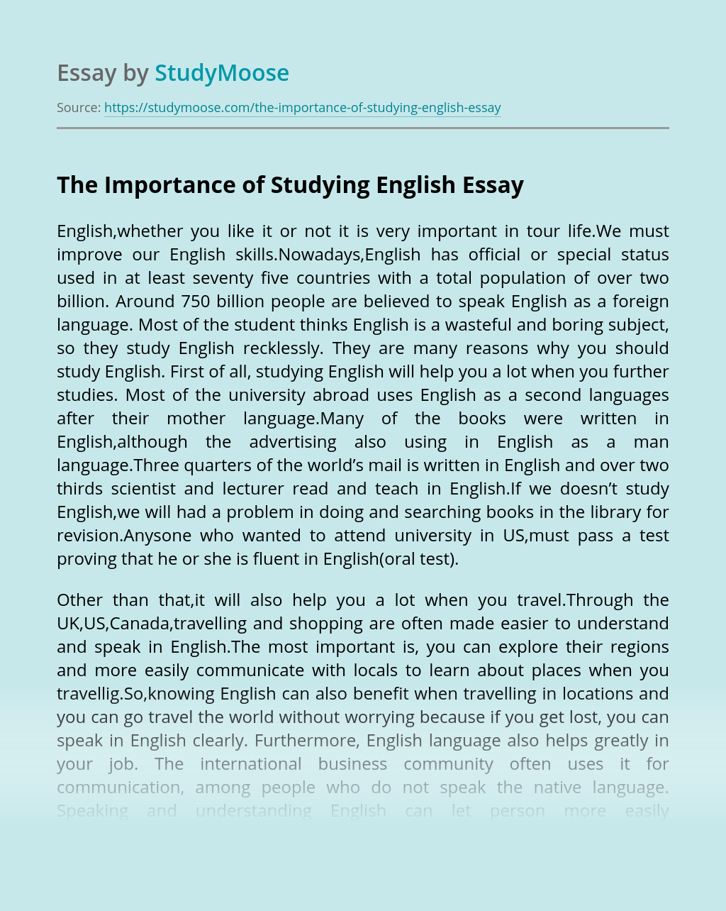 The Importance of Studying English