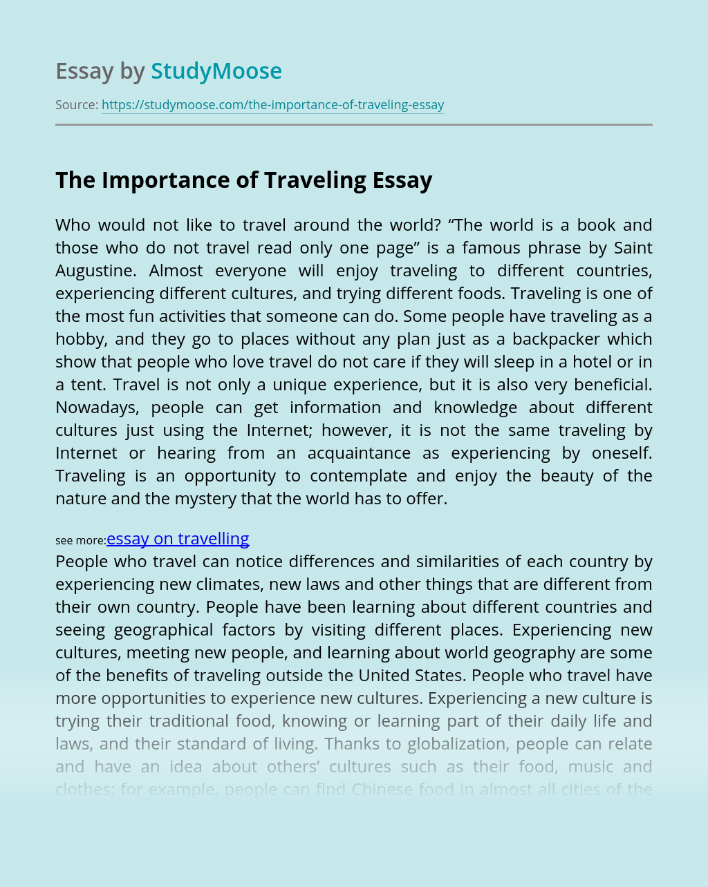 The Importance of Traveling