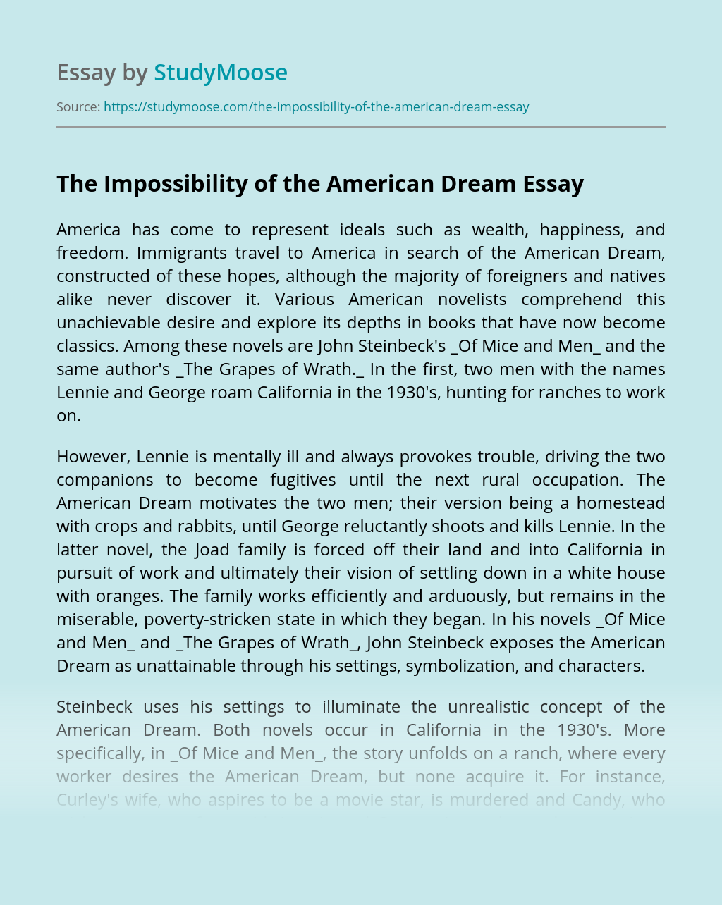 The Impossibility of the American Dream