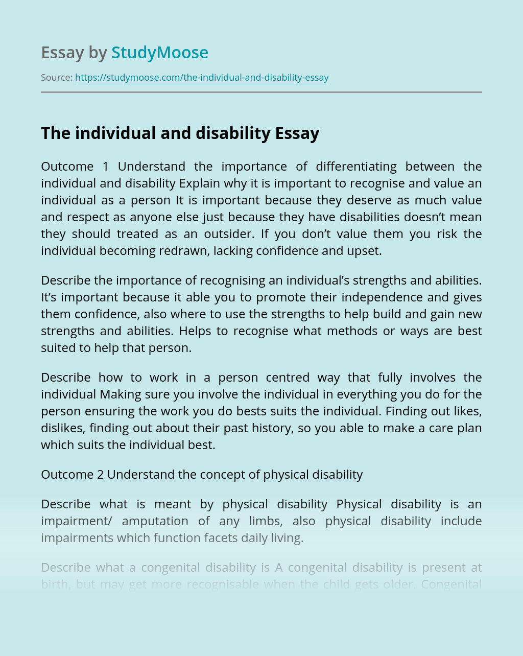 The individual and disability