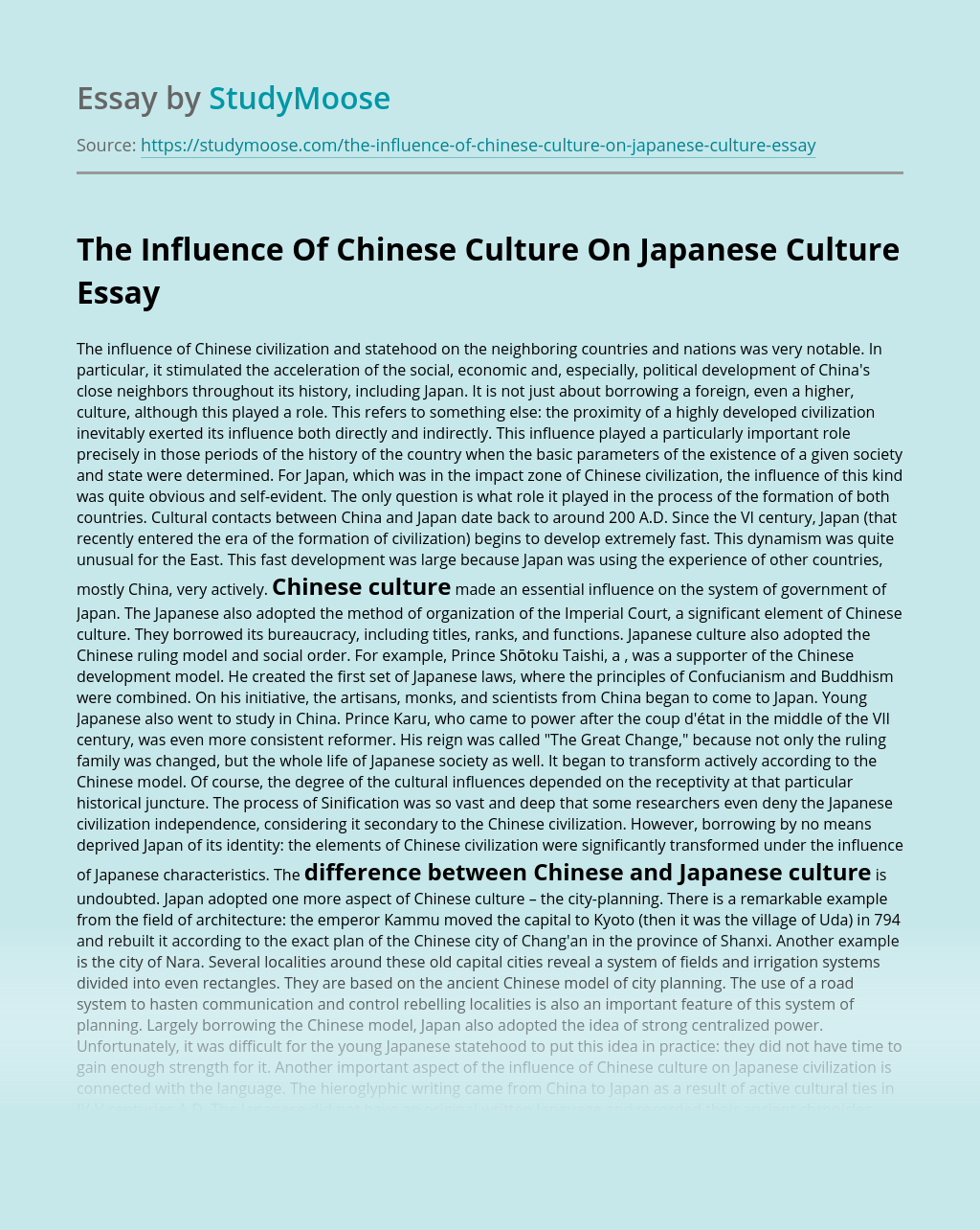 The Influence Of Chinese Culture On Japanese Culture