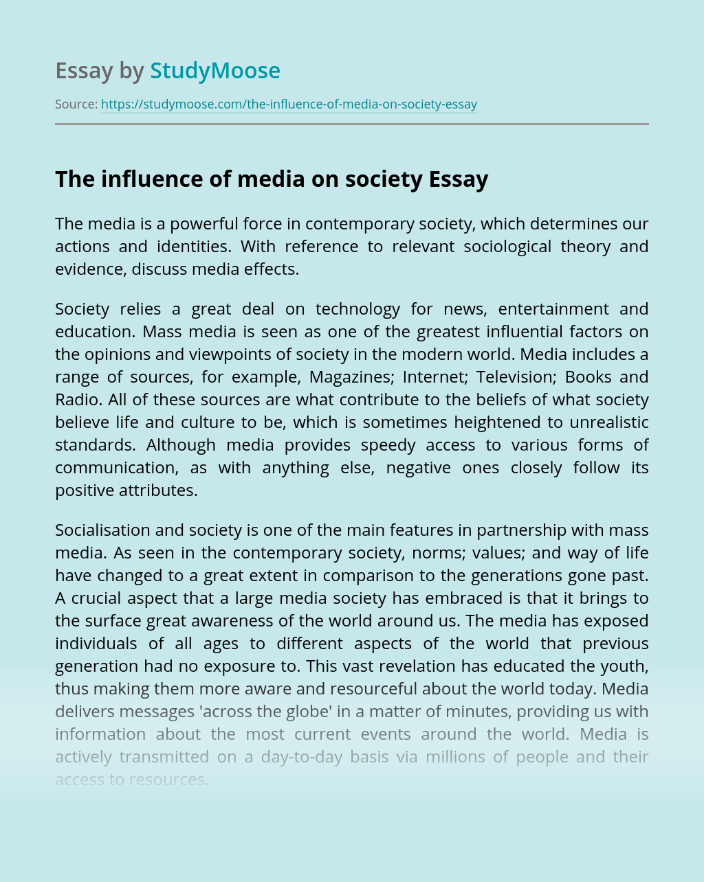 The influence of media on society