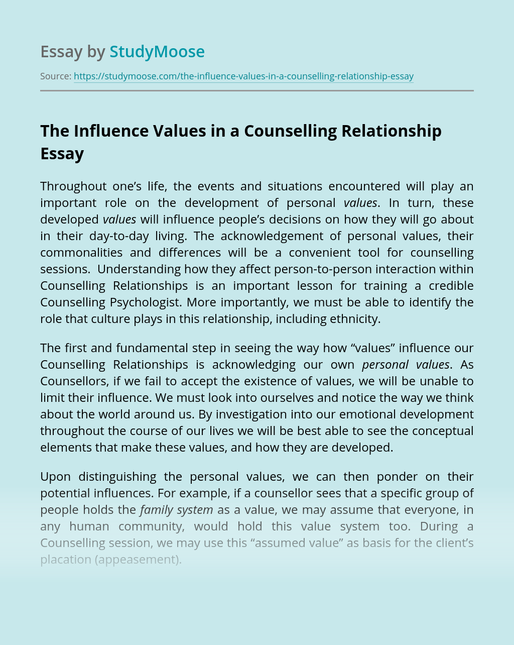 The Influence Values in a Counselling Relationship