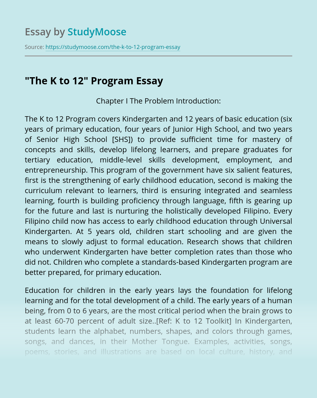"The K To 12"" Program Free Essay Example"