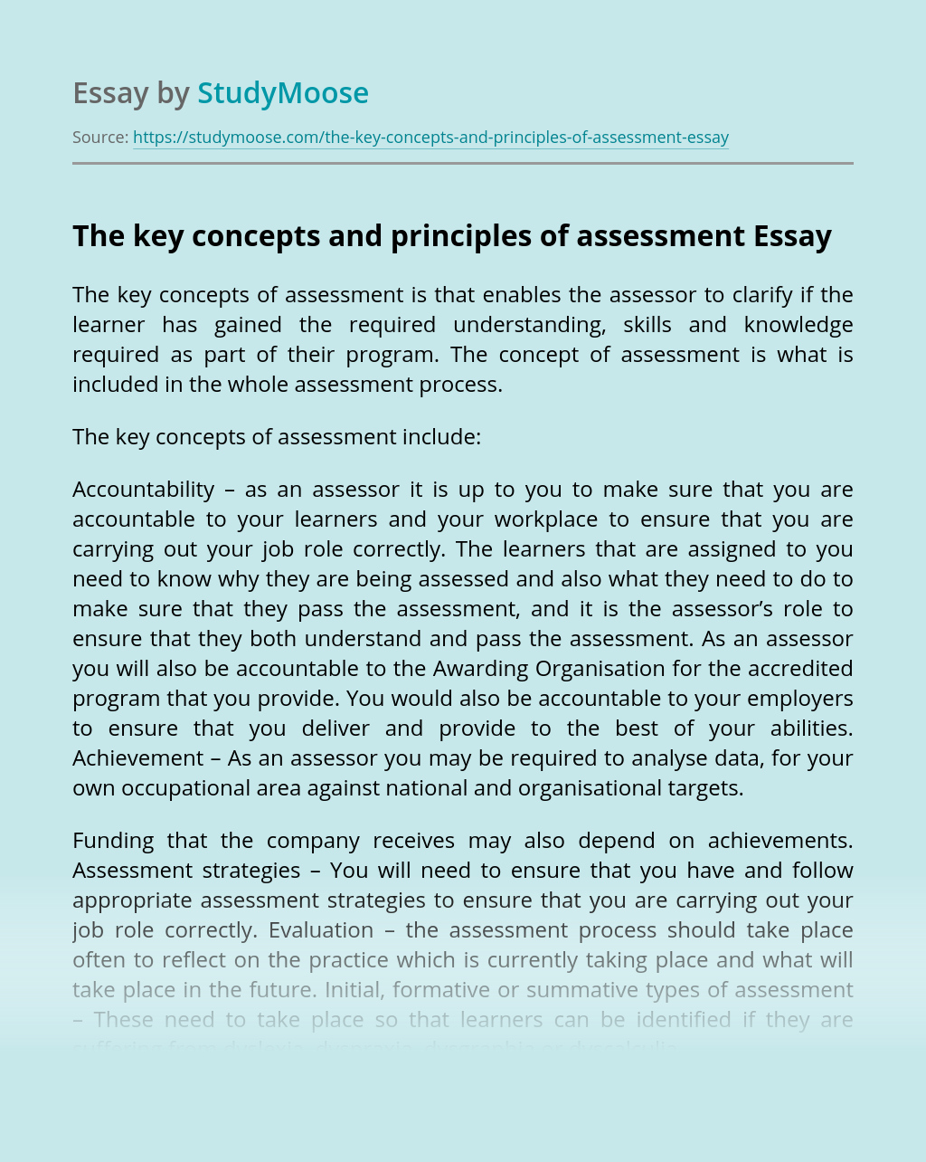 The Key Concepts and Principles of Assessment