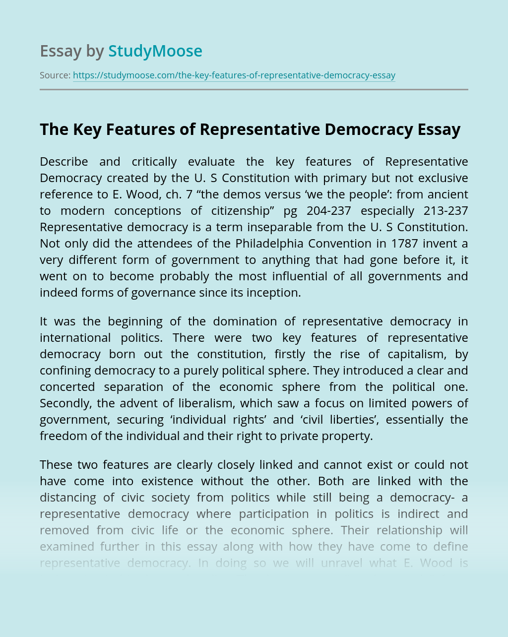The Key Features of Representative Democracy