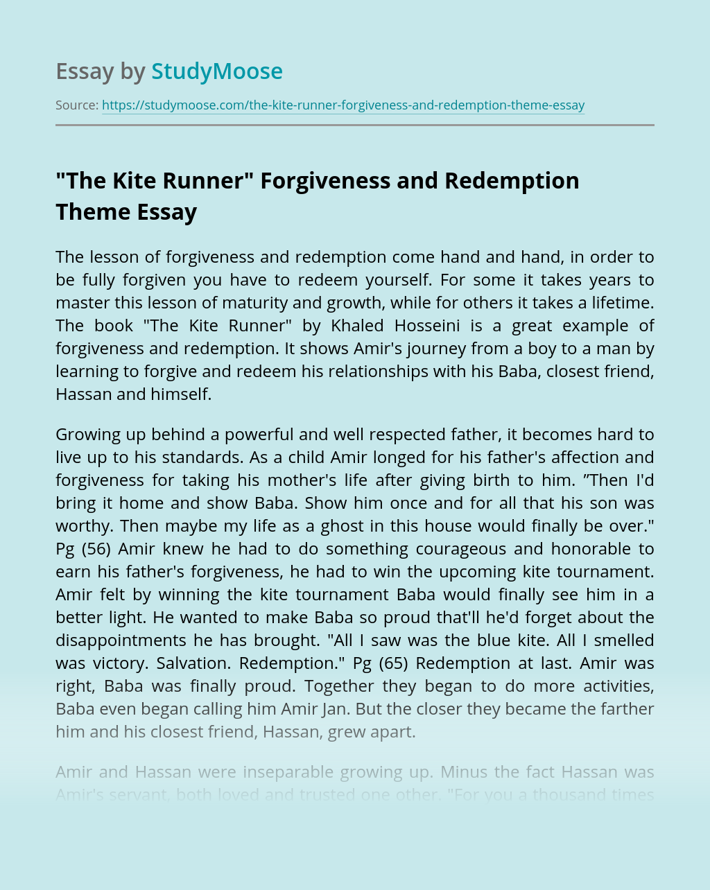 """""""The Kite Runner"""" Forgiveness and Redemption Theme"""